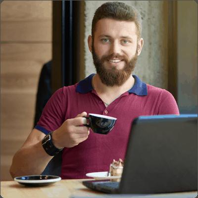 Guy drinking coffee